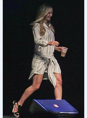 dress shirt dress stripes jennifer lawrence sandals