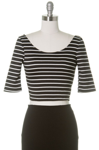 Brandi Striped Crop Top in Trendy Black & White | HC Fashion
