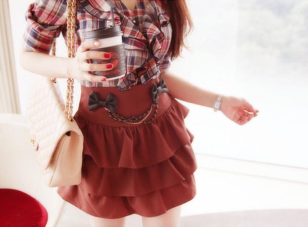 blouse skirt bows red ruffle short plaid layered kfashion probably short sleeve cute short skirt