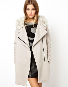 ASOS | ASOS Ovoid Coat With Faux Fur Collar at ASOS