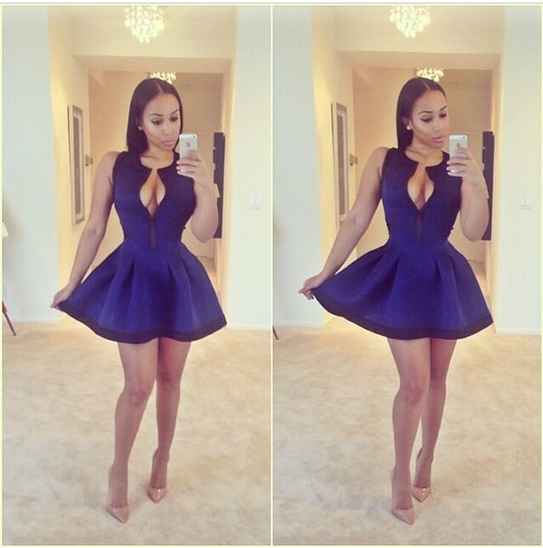 dress blue dress skater dress royal blue dress