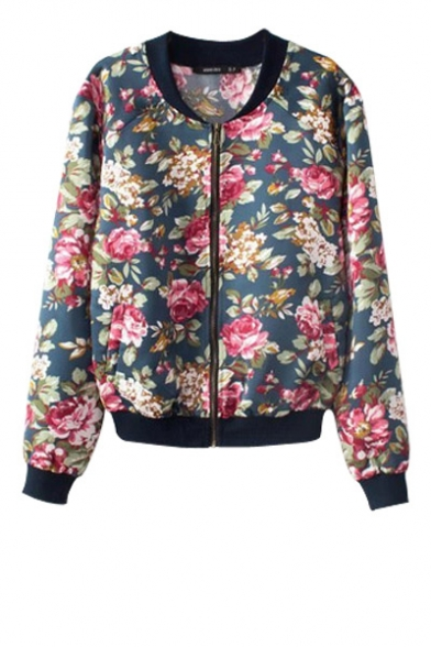 Floral print zip fly long sleeve bomber jacket