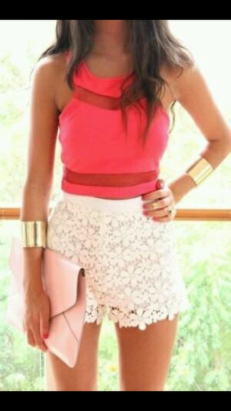 top coral summer outfits gold sequins cut out top sumer summer colors shorts cute white bracelets pink red orange coral dress coral top coral tank jewels bag