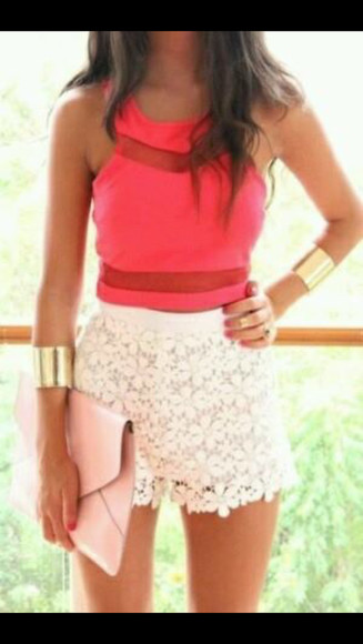 red top coral summer outfits gold sequins cut out top sumer summer colors shorts cute white bracelets pink orange coral dress coral top coral tank jewels