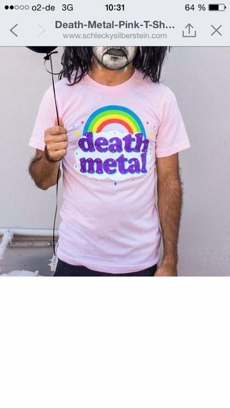 shirt pink music death meta grunge black funny rainbow unicorn ironic mens t-shirt