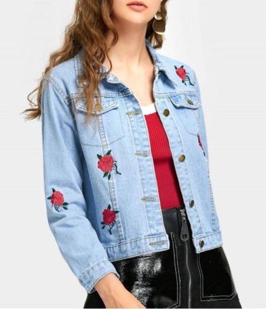 jacket embroidered girly blue denim jacket denim rose