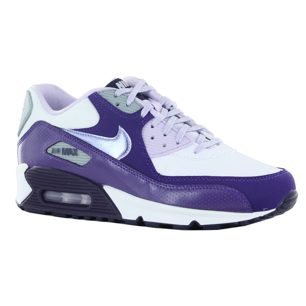 hot sale online ad202 0f6f1 Nike Air Max 90 2007 GS White Purple Youths Trainers   eBay
