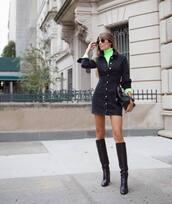 dress,denim dress,black denim,black dress,knee high boots,heel boots,turtleneck,black bag