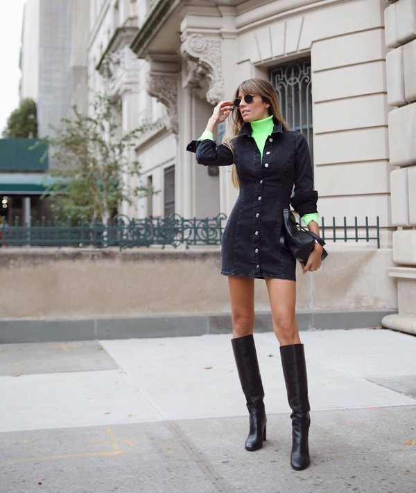 dress denim dress black denim black dress knee high boots heel boots turtleneck black bag