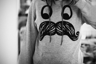 sweater moustache face jacket sweatshirt hoodie funny warmth grey cute girl black and white