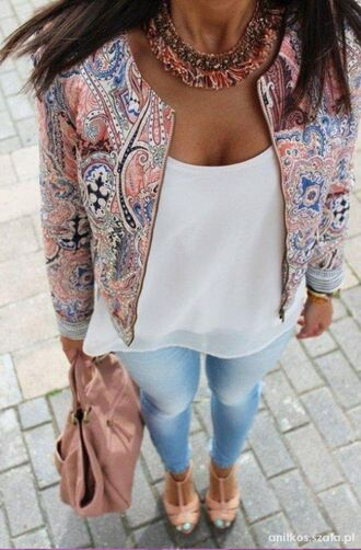 statement necklace cute outfits outfit pattern paisley printed jacket spring jacket white tank top light blue jeans skinny jeans