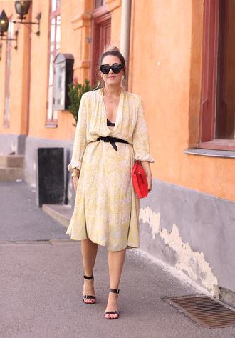 dress tumblr midi dress yellow yellow dress v neck v neck dress belt sandals sandal heels high heel sandals sunglasses bag