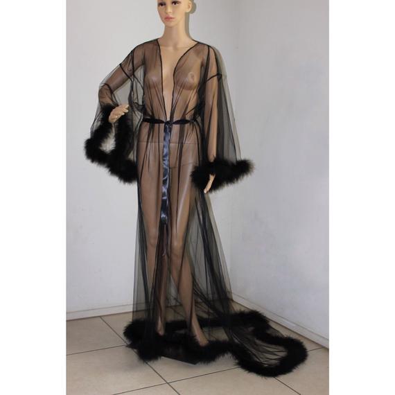 Giselle Sheer Fur Robe Lingerie Black / black feather robe / Fur trimmed robe / black lingerie