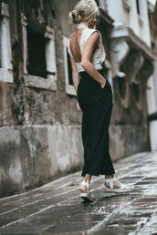 top,open back top,sexy top,date outfit,white sandals,black skirt,blogger