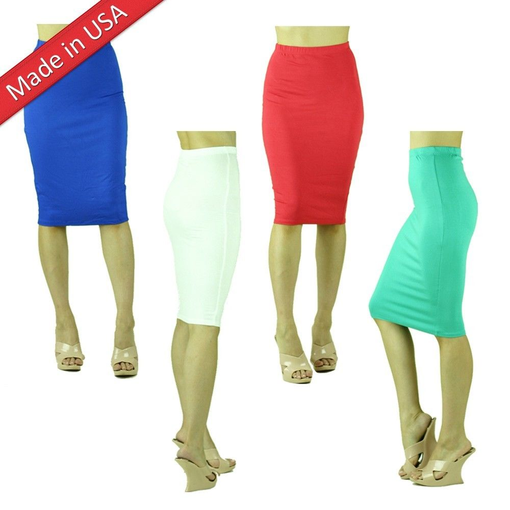Slim Tight Fitted Knee Length Comfy Solid Color Plain Bodycon Chic Pencil Skirt