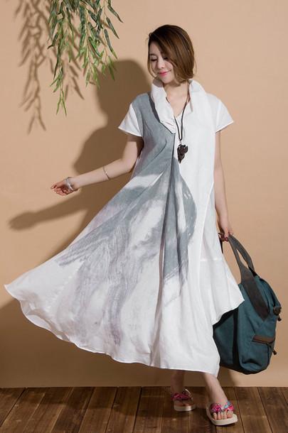 dress short sleeve dress ethnic style dress linen dress white dress maxi dress irregular dresses