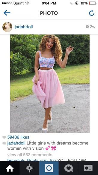skirt pink skirt jada doll maxi skirt fashion bustier top crop tops