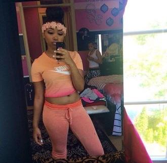 shirt sweatpants nike pink