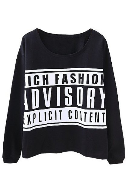 Advisory print black sweatshirt, the latest street fashion