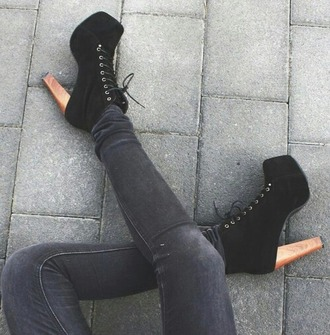 shoes high heels black heels boots lace up platform lace up boots
