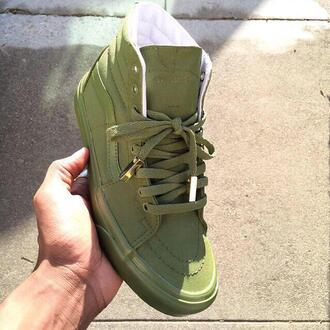 shoes green sneakers style vans sk8-hi army green olive green skate highs