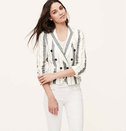 Striped Linen Cotton Blazer | Loft