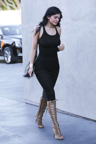 dress midi dress black kylie jenner bodycon dress shoes