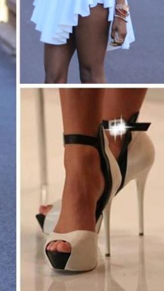 shoes heels white heels black heels pretty heels two strap sexy heels cute heels black and white two strap stiletto open peep toe platform pump heel sandal
