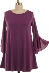 top,tunic,bell sleeves,plum,purple,ruffle