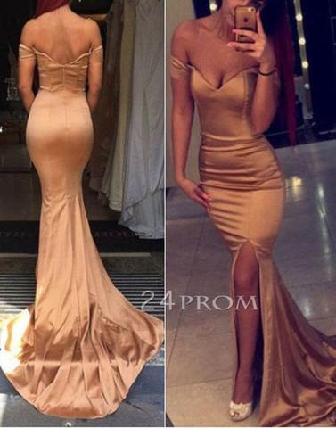 Champagne sweetheart mermaid long prom dress, evening dress - 24prom