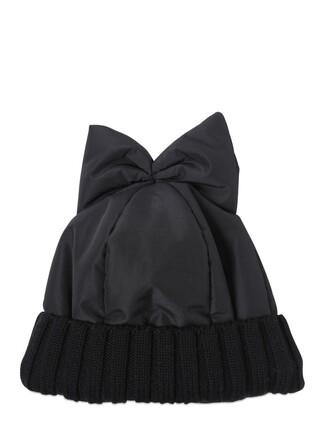 bow hat beanie black