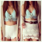 top,cute,blue,lace,jewels,skirt