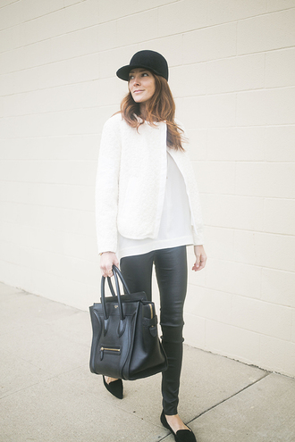 could i have that blogger cap white jacket leather pants celine