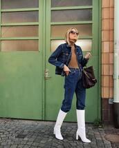 jeans,high waisted jeans,knee high boots,white boots,high heels boots,handbag,denim jacket,turtleneck,sunglasses