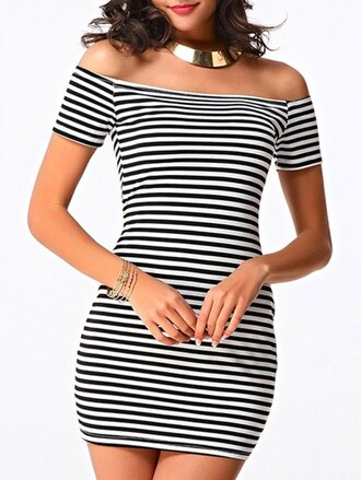 dress trendy stripes black and white fashion style hot casual summer gamiss
