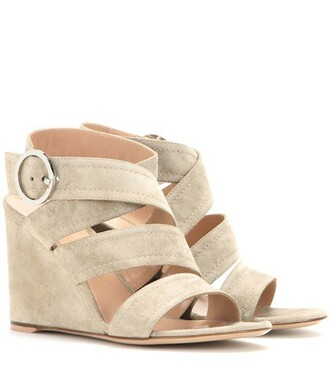sandals wedge sandals suede shoes