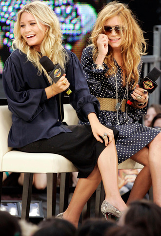 olsen sisters blouse skirt dress shoes sunglasses belt jewels