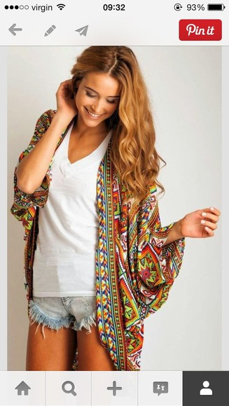 aztec print jacket kimono colorful, cardigan, rainbow aztec cardigan