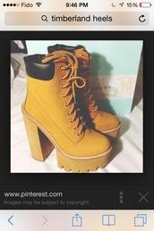 shoes,heels,boots,yellow,heel,timberland,jeffreycambel,platform shoes,platform lace up boots