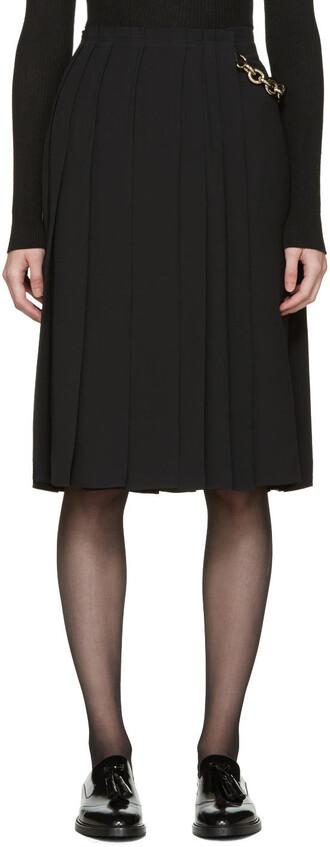 skirt wrap skirt pleated black silk
