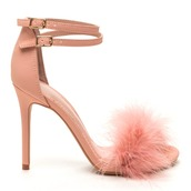 shoes,heels,pink,pink heels,pink shoes,blush pink heels,blush pink shoes,fur,fur heels,fur shoes,open toes,open toe heels,blush pink
