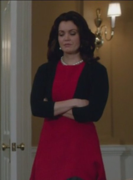 dress mellie grant bellamy young scandal red black cardigan textured wool-blend