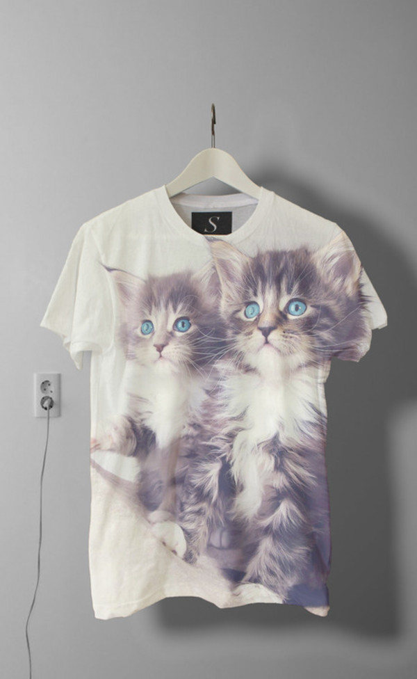 t-shirt cats white grunge cool blue cute t-shirt print cats