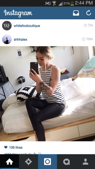 striped shirt leather pants