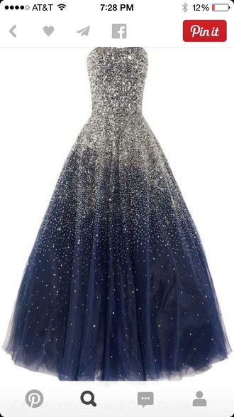 sparkle prom dress formal ball gown fit flare formal dress gown navy ombré strapless
