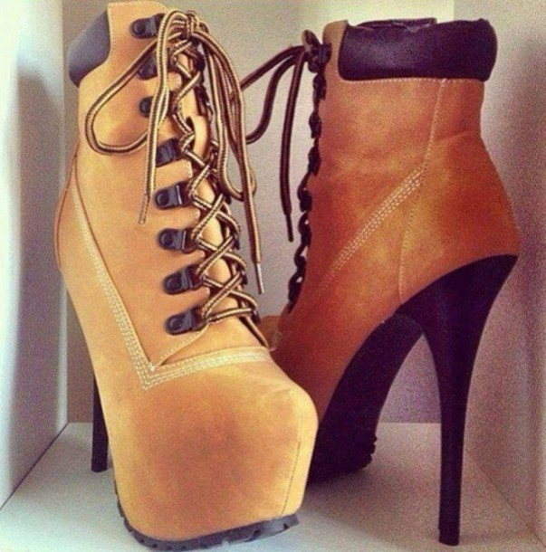shoes boots high heels high heel booties tan shoes heels laces platform lace up boots style fashion very high heels timberland heels timberlands boots timberland