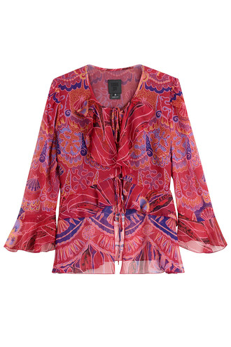 top ruffle shell print silk pink