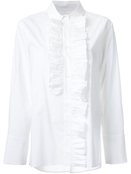 shirt ruffle shirt ruffle women white cotton top