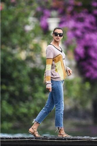 jeans irina shayk shoes denim sweater sunglasses flat sandals