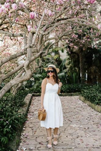 thestyledfox blogger dress jewels shoes hat bag cult gaia bag white dress spring outfits sandals